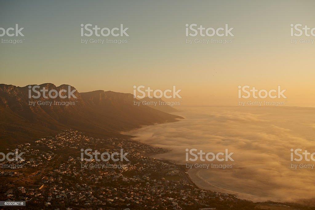 Over the mountain, across the sea stock photo