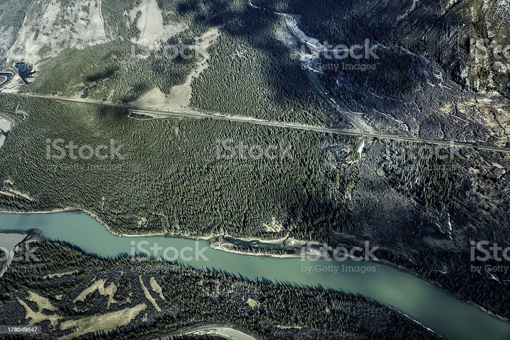 Over the mountain peaks of Rocky Mountains, Banff, Alberta, Canada stock photo