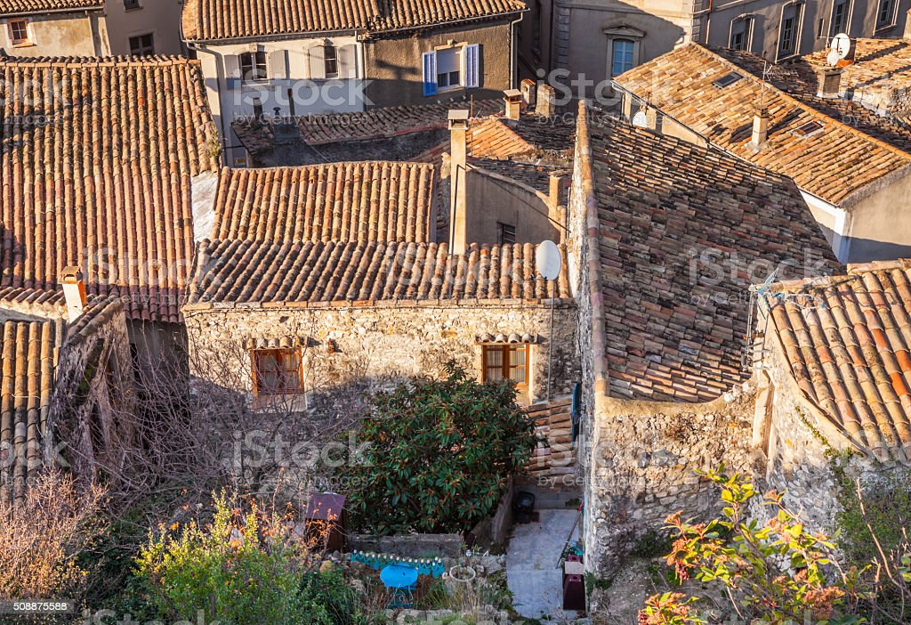over the roofs of Viviers Ardeche France rhone-alpes stock photo