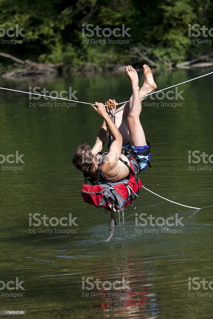 Over the rope bridge royalty-free stock photo