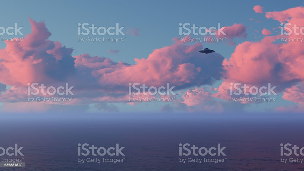 3D UFO over the sea and waves stock photo