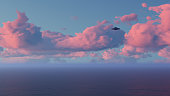 3D UFO over the sea and waves