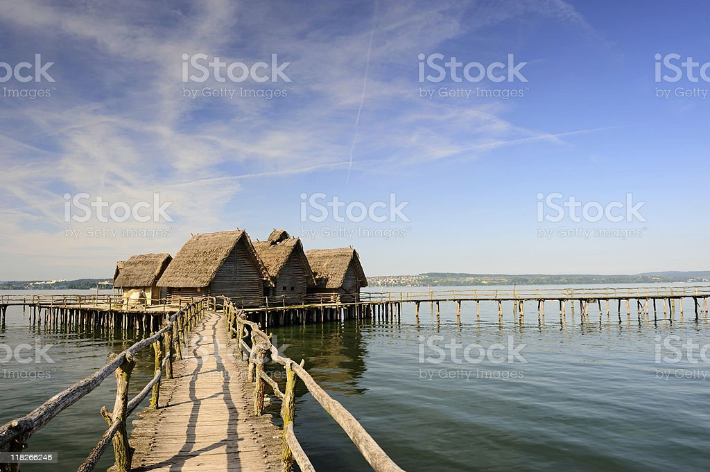 Over the Water of Pile Dwelling in Unteruhldingen Lake Constance stock photo