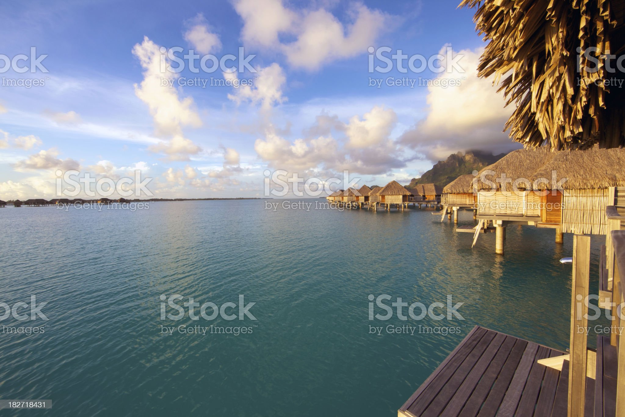 Over the water resort in tropical paradise royalty-free stock photo