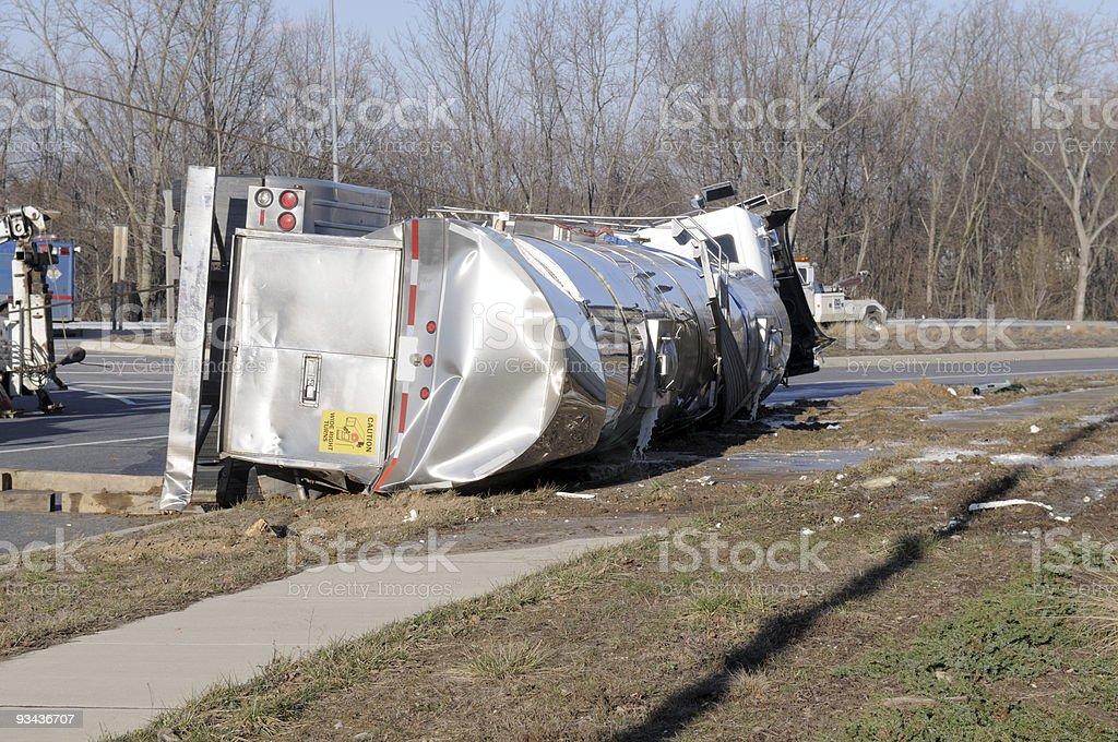 Over Turned Milk Tanker royalty-free stock photo