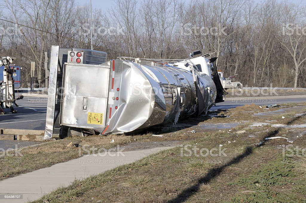 Over Turned Milk Tanker stock photo