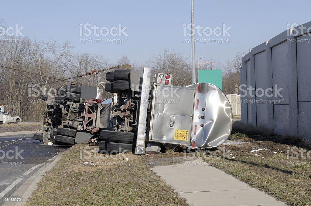 Over Turned Tanker Truck stock photo