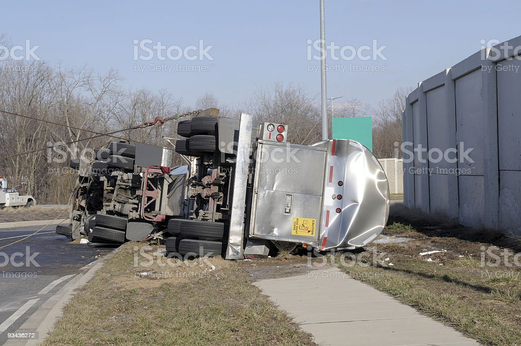 Over Turned Tanker Truck stock photo