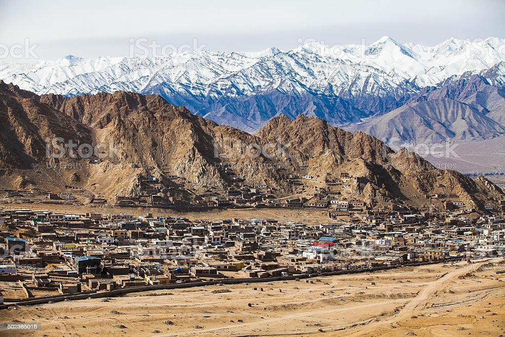 Over view Leh City with beautiful background Himalayan. stock photo