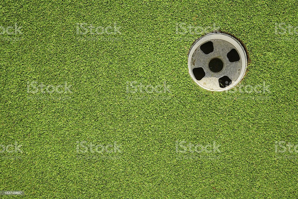 Over view of a golf hole on the green stock photo