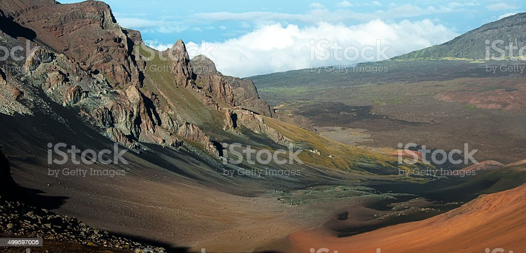 over view of Haleakala crater stock photo