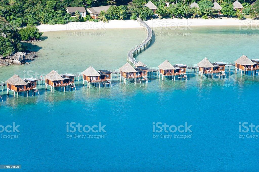 Over water bungalow resort stock photo