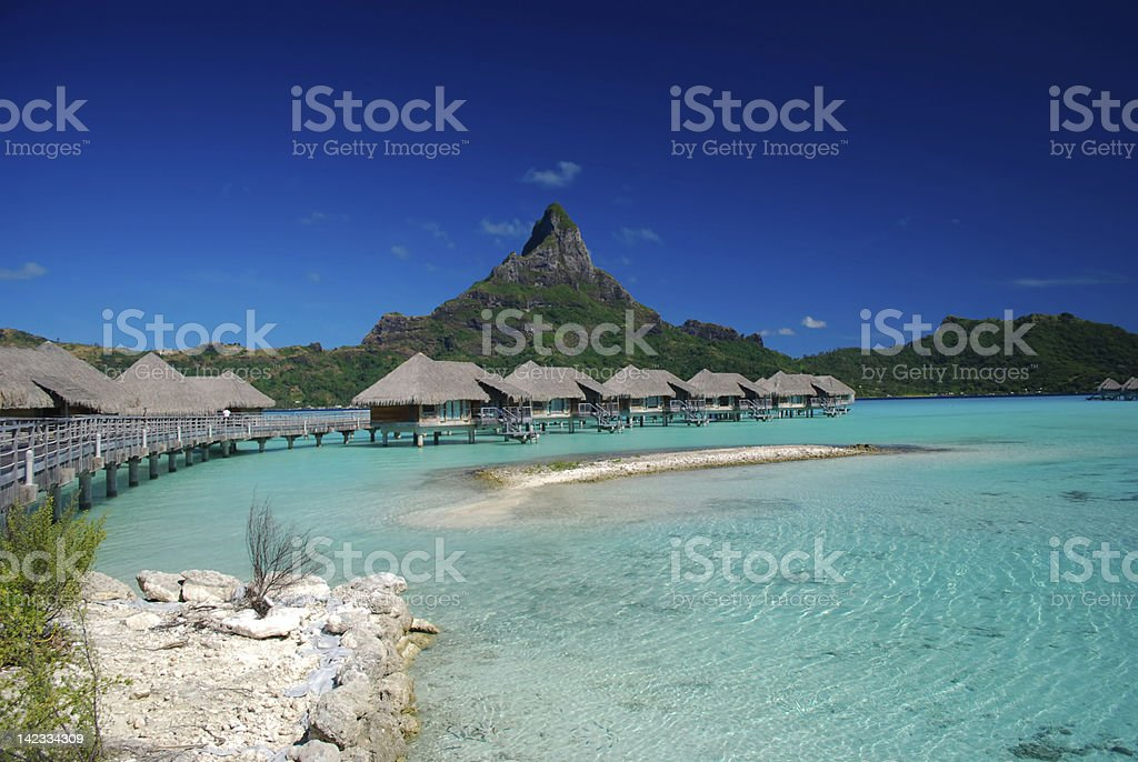 Over water bungalows in French Polynesia stock photo