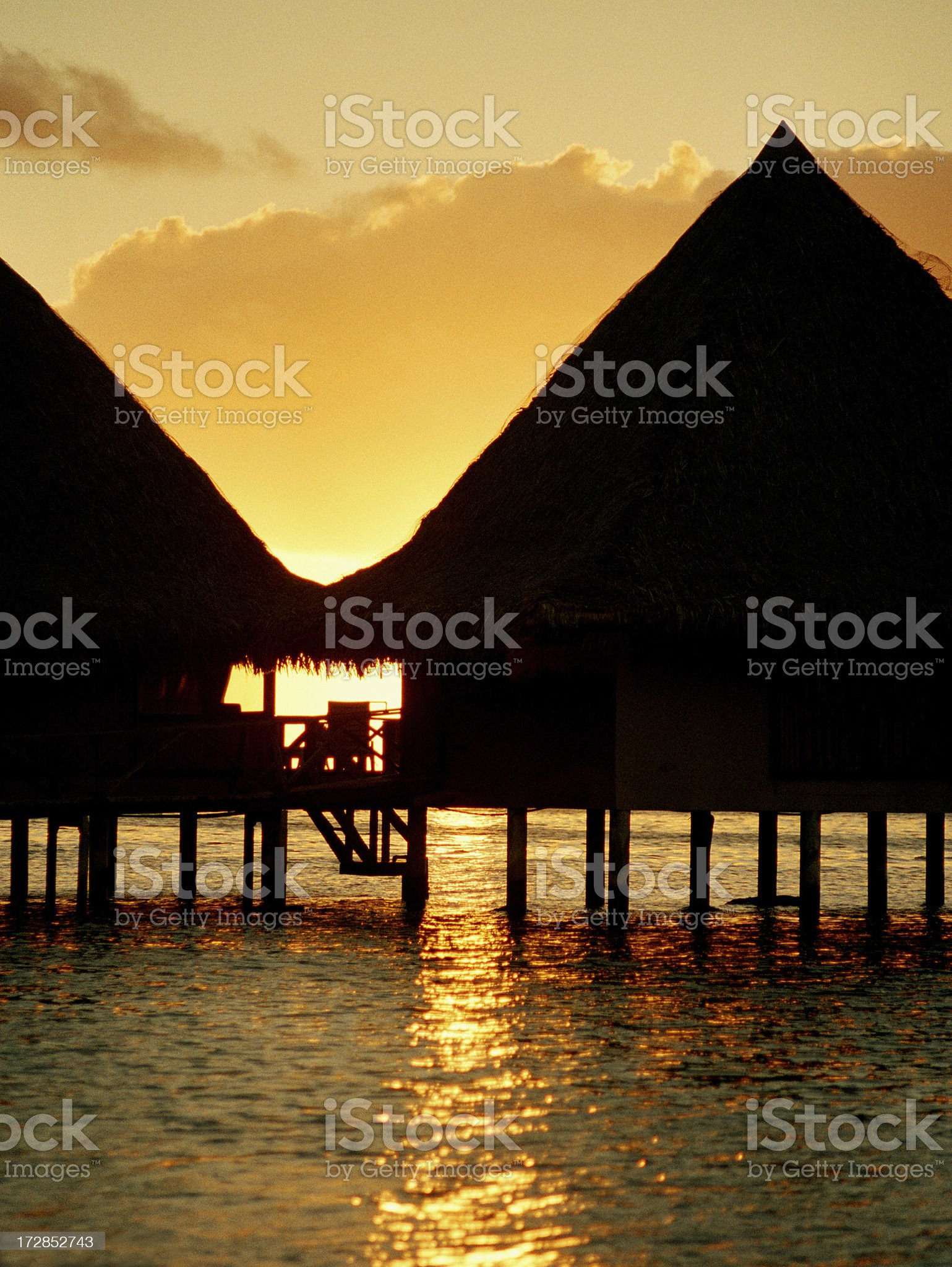 Over water Hawaii style bungalows royalty-free stock photo