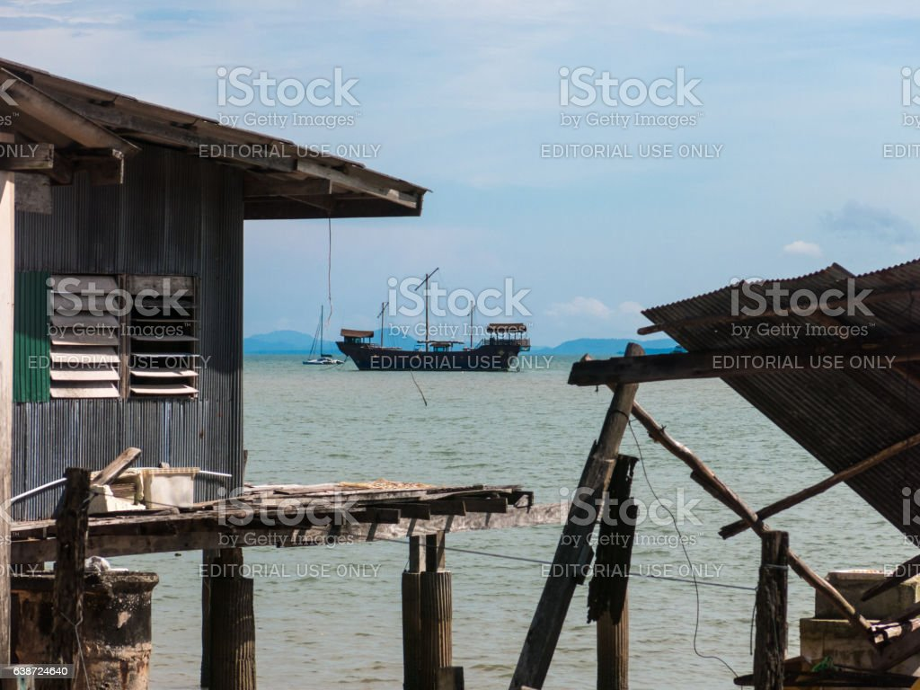 Over Water Traditional Stilt House Koh Lanta Thailand stock photo
