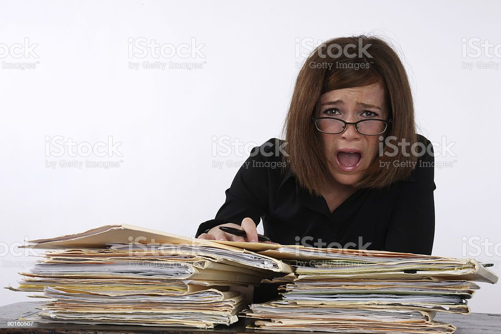 Over worked office worker royalty-free stock photo