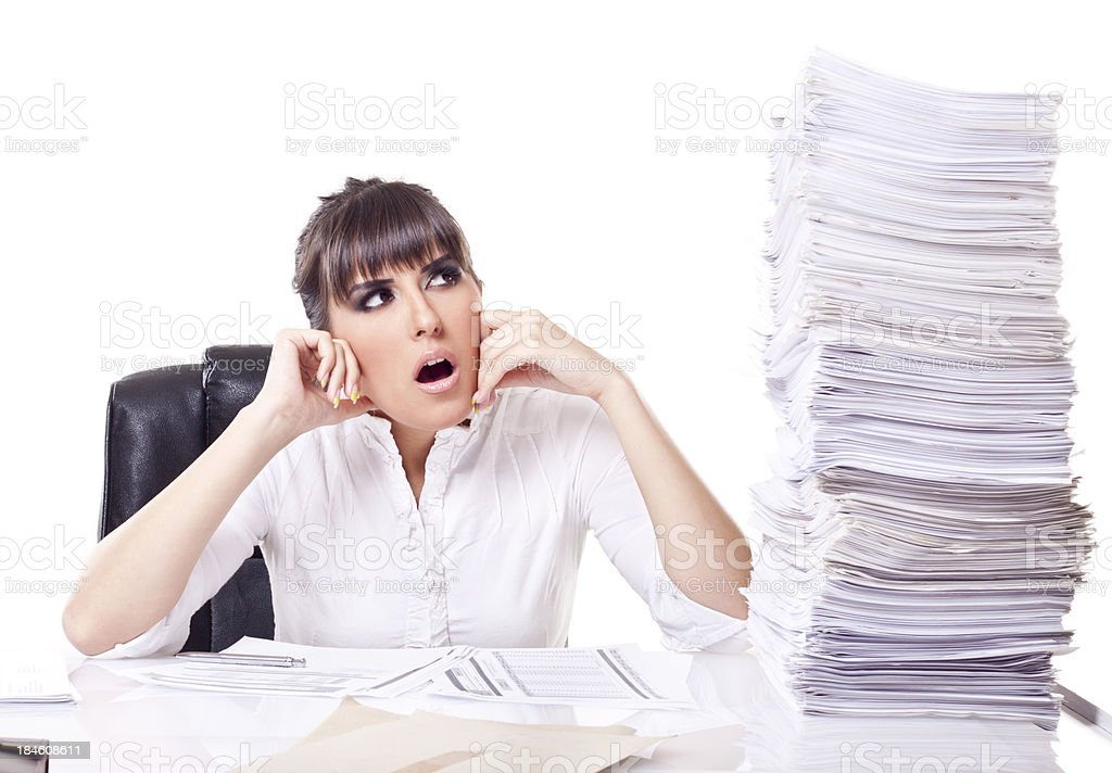 Over worked woman royalty-free stock photo