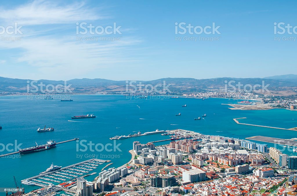 Overall view of Gibraltar city, Bay of Algeciras. stock photo