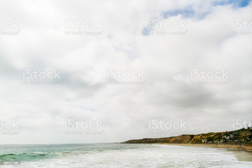 Overcast Beach stock photo