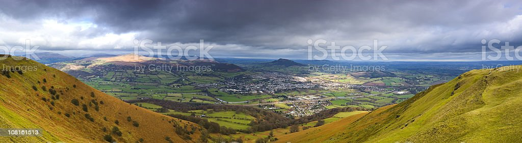 Overcast Clouds Above Mountain Valley royalty-free stock photo