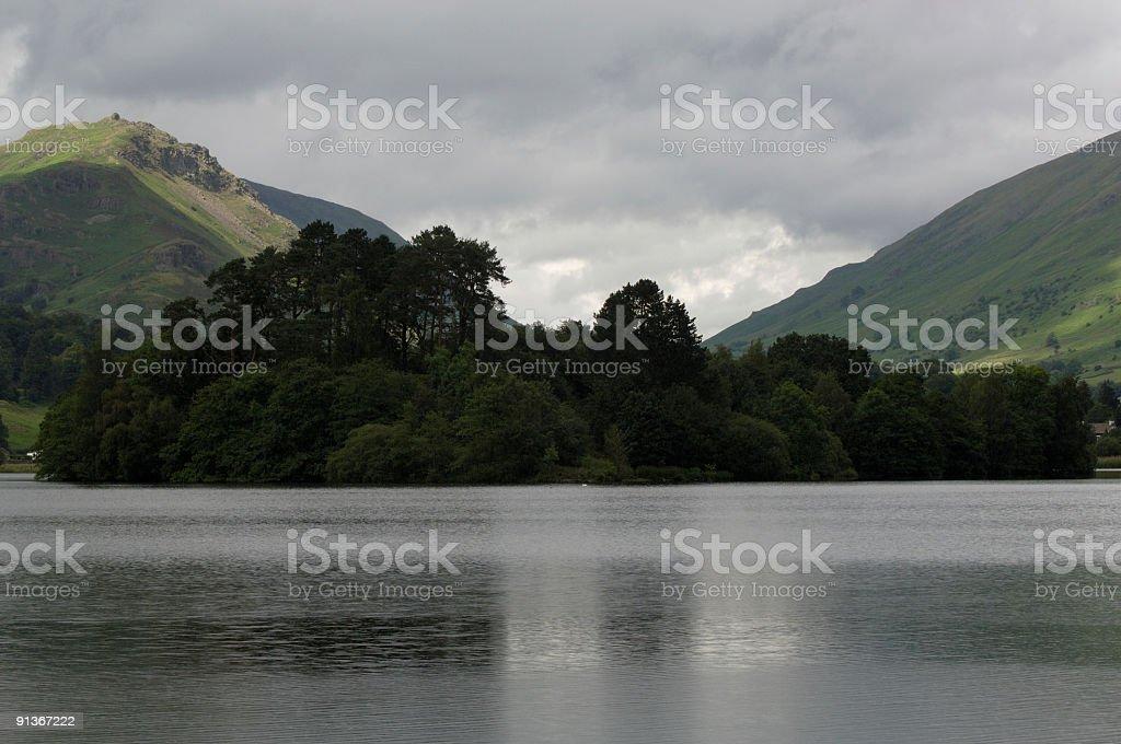overcast day, lake grassmere UK stock photo