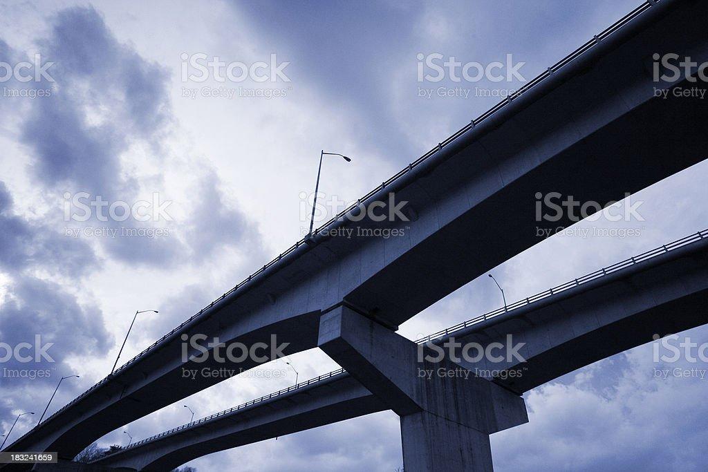 Overcast Highway Overpass stock photo