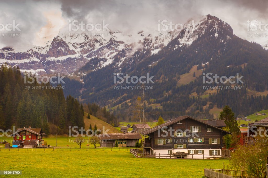 Overcast Morning Sunlight Bernese Oberland stock photo
