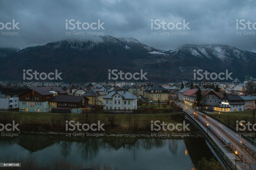 Overcast Night at small town in Austria stock photo