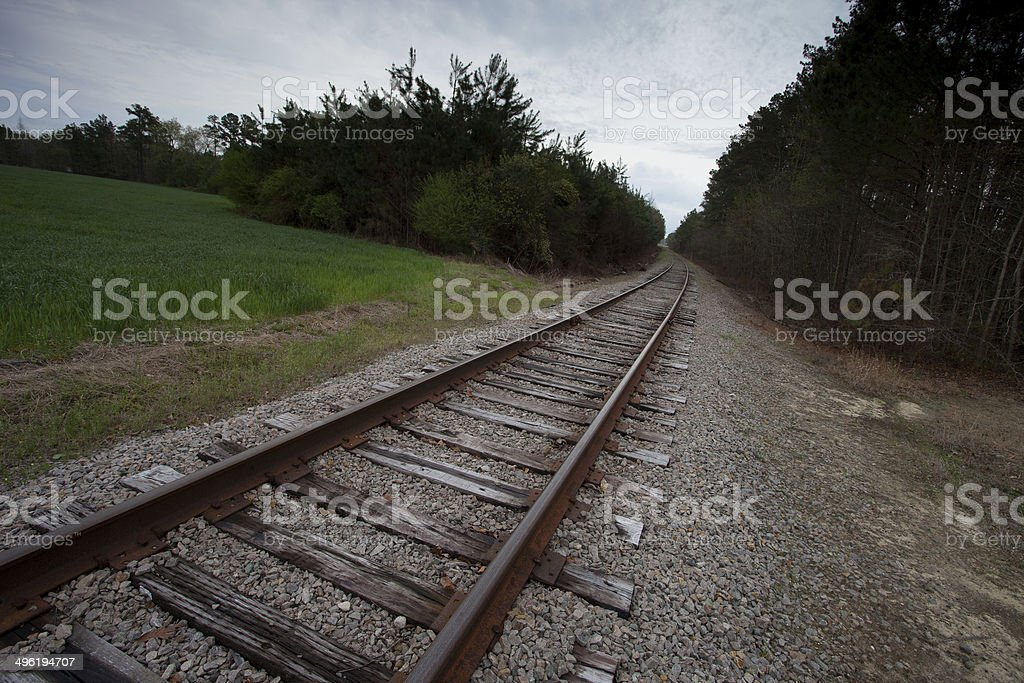 Overcast rails stock photo
