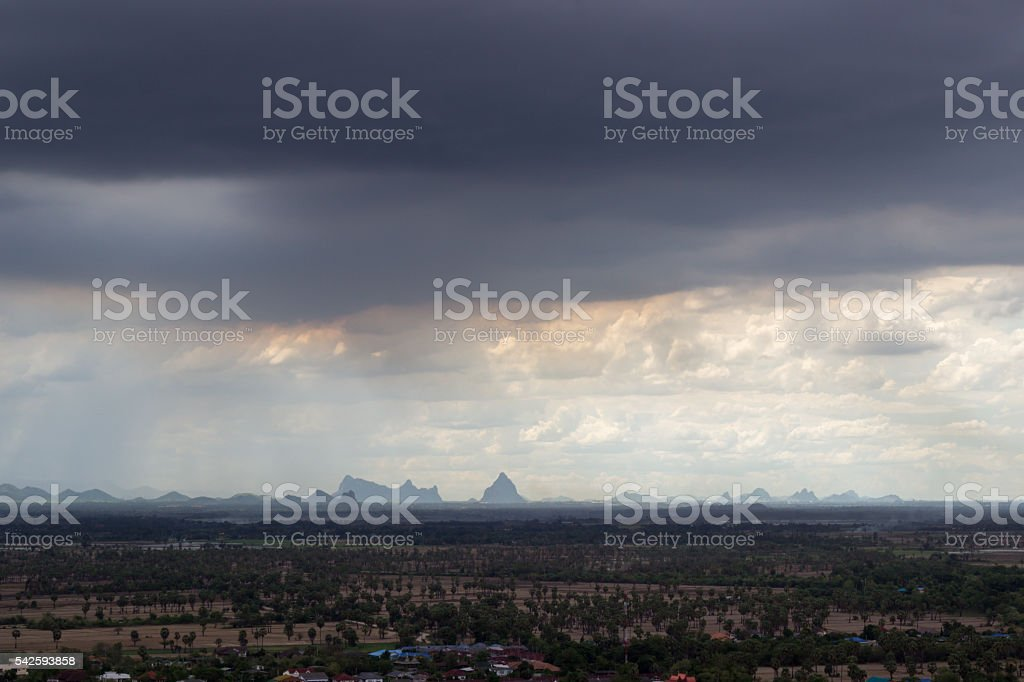overcast sky and raining at Phetchaburi province,Thailand stock photo