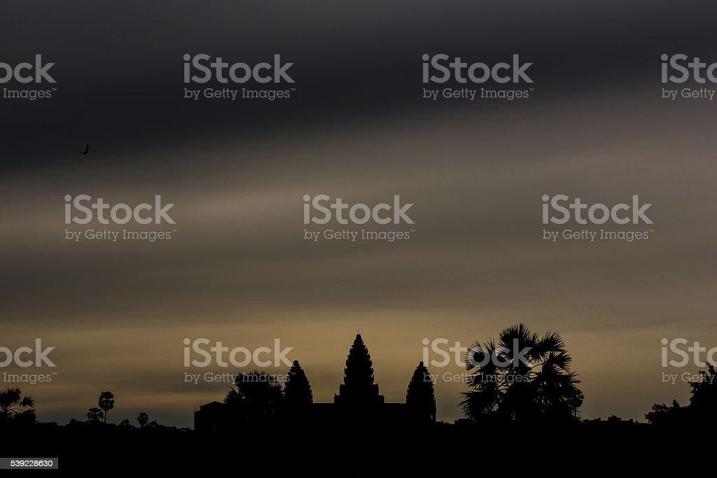 Overcast Sky at Angkor Wat stock photo