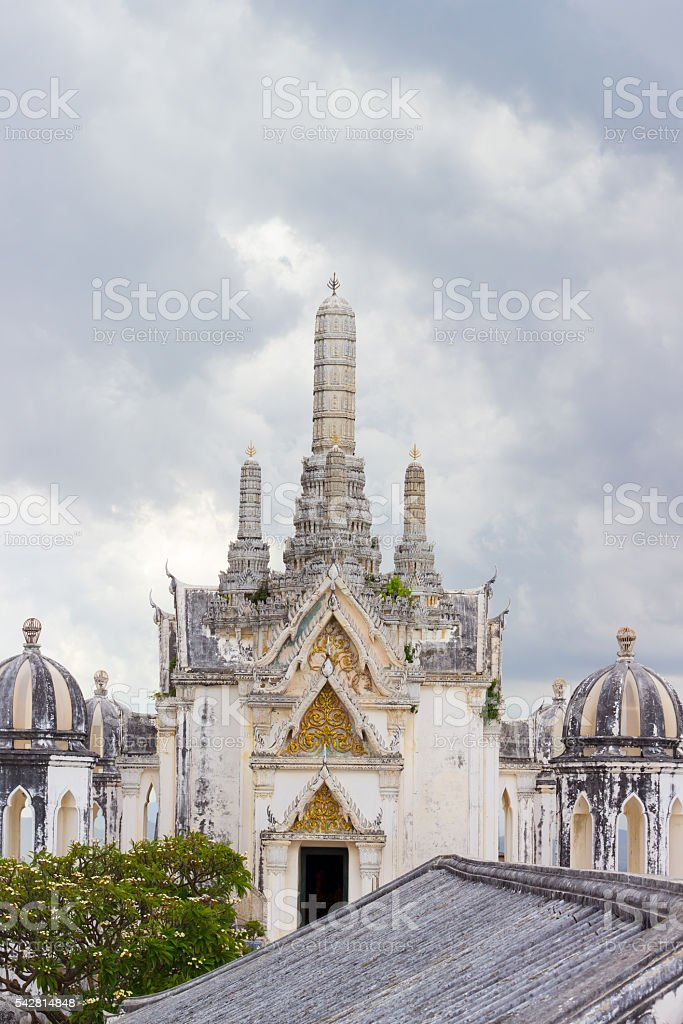 overcast sky at Phra Thi Nang Wetchayan Wichian Prasat stock photo