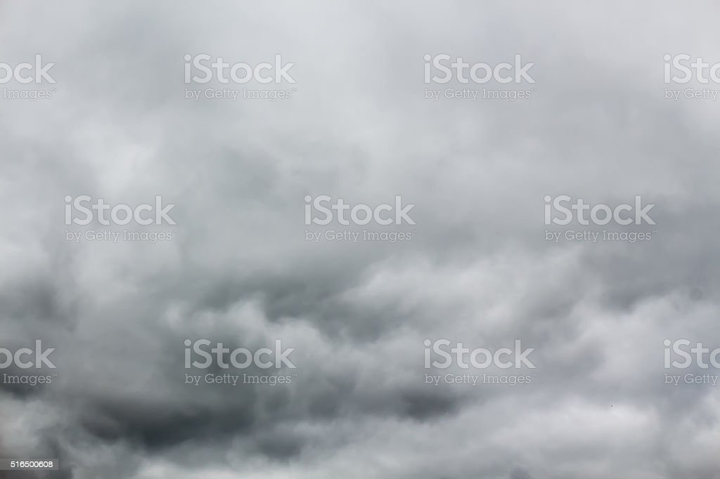 Overcast sky with dark stormy rain clouds. stock photo
