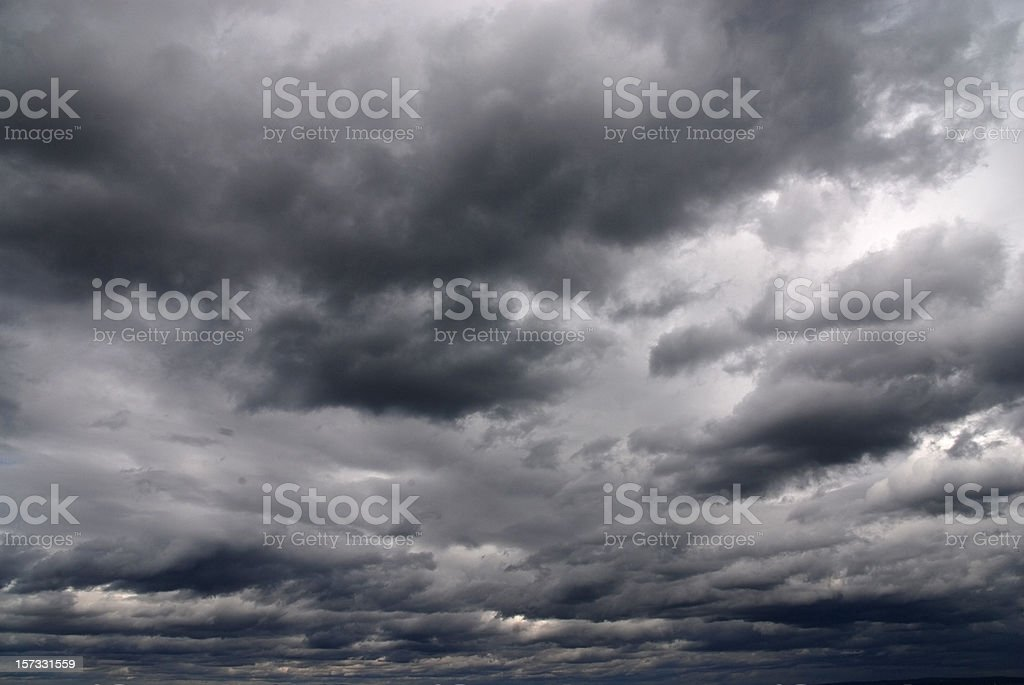 overcast sky with rain clouds stock photo