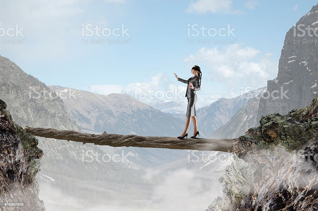 Overcome fear of failure . Mixed media stock photo