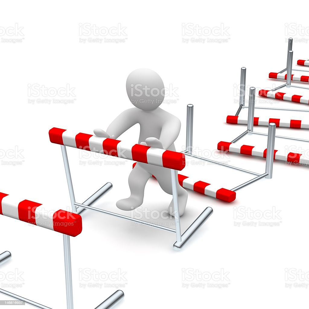 Overcome hurdles stock photo