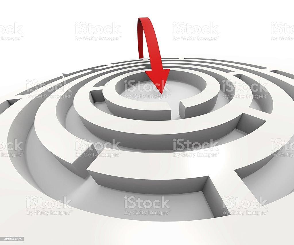 Overcome Maze Shows Solving Puzzle Success stock photo