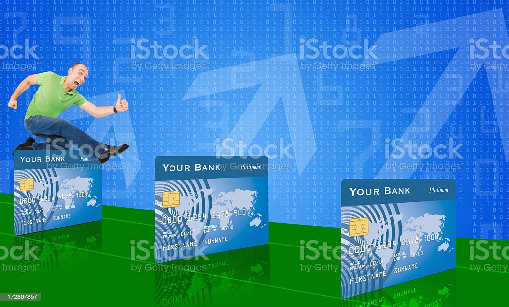 Overcome obstacles in paying off debts stock photo
