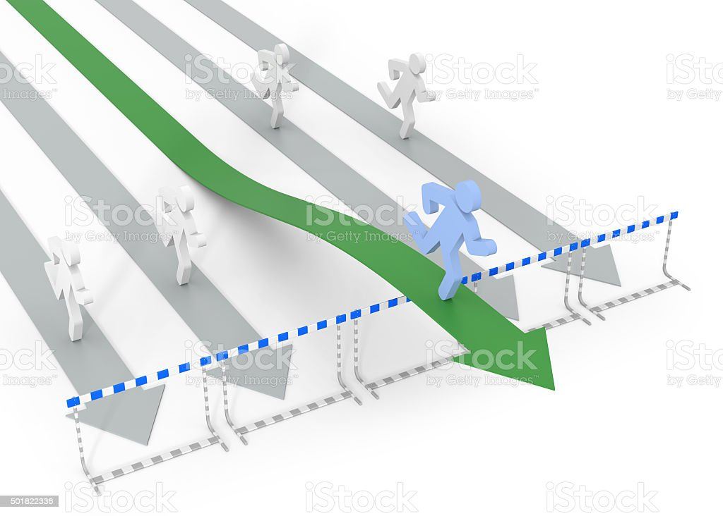 Overcome obstacles to success stock photo