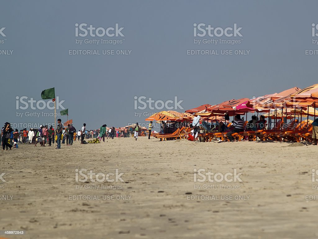 Overcrowded Cox's Bazar in Bay of Bengal stock photo