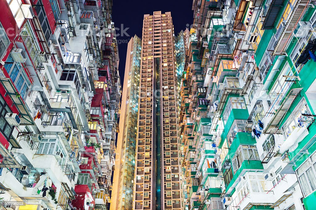 Overcrowded residential building in Hong Kong stock photo