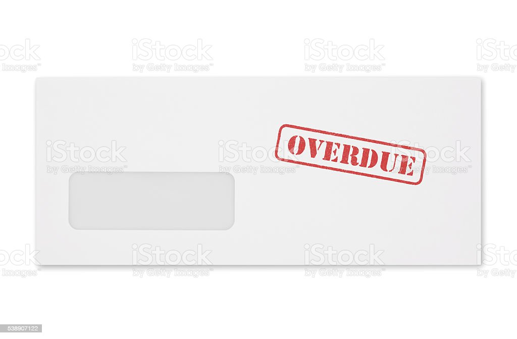 Overdue Bill Envelope (with path) stock photo