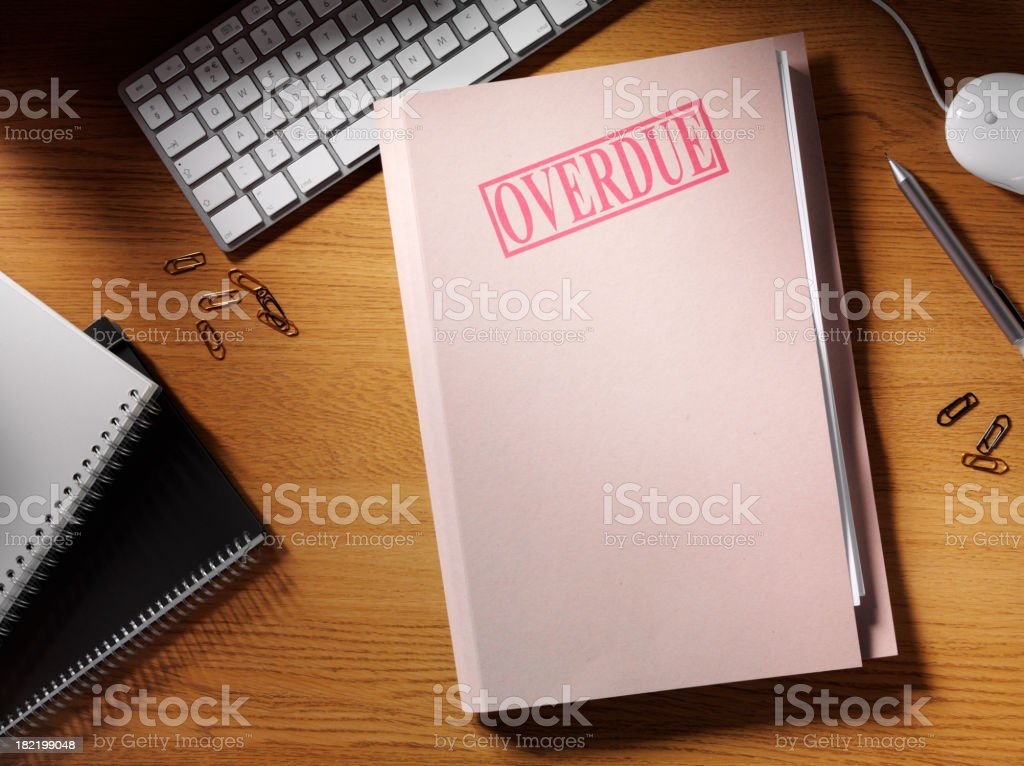 Overdue Stamped on a File royalty-free stock photo
