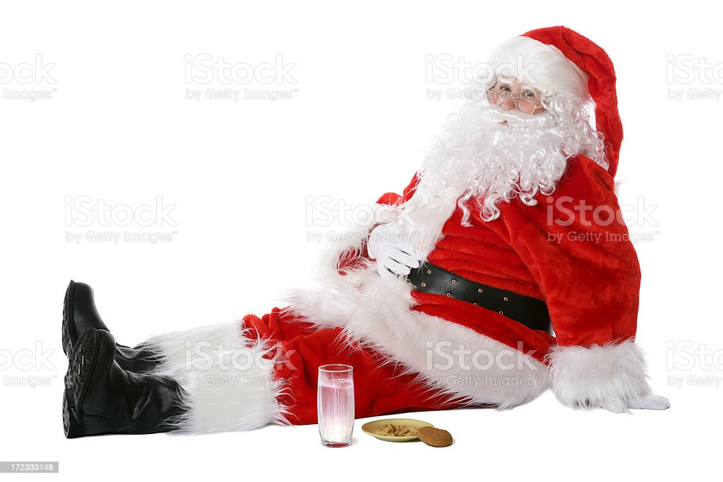Overeaten Santa (on white) royalty-free stock photo