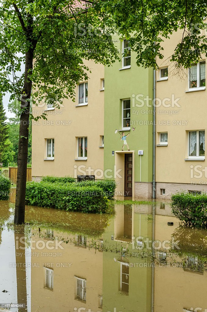 overflow on a street in Gera, Germany stock photo