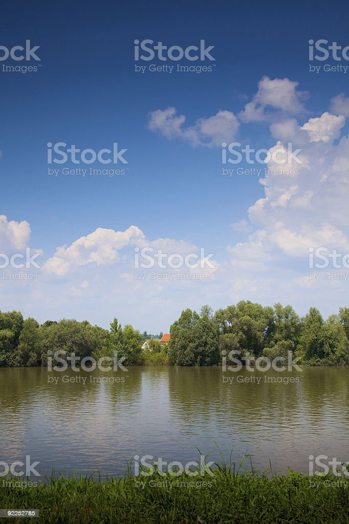 Overflow river and blue sky royalty-free stock photo