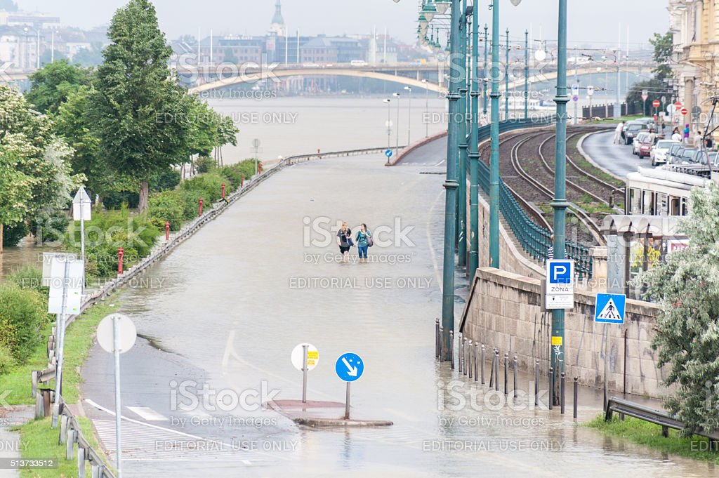 Overflowed Danube at Budapest stock photo