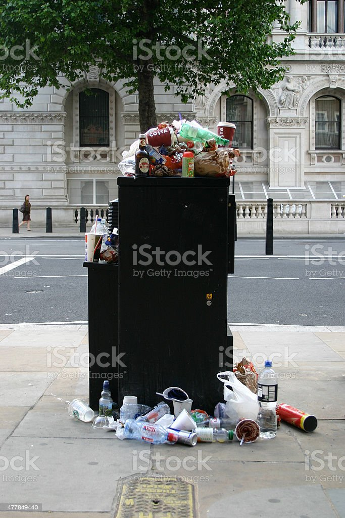 Overflowed garbage box in London stock photo