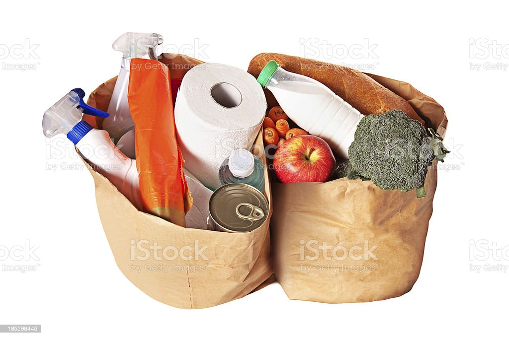 Overflowing grocery bags royalty-free stock photo