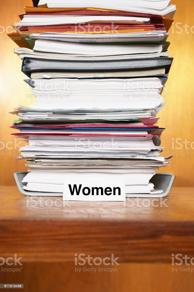 Overflowing Inbox for women stock photo